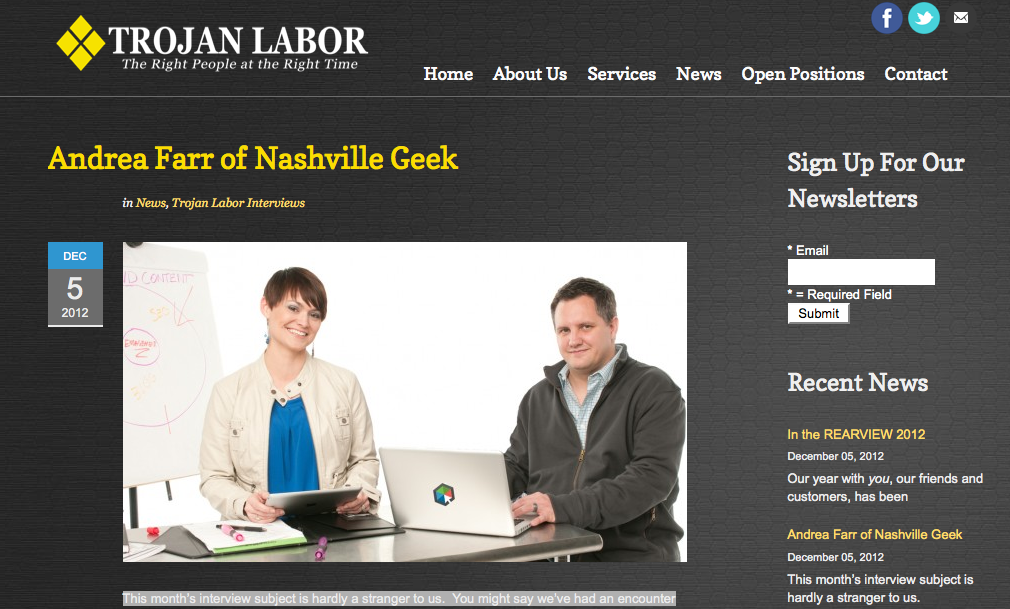 Trojan Labor Interview Nashville Geek