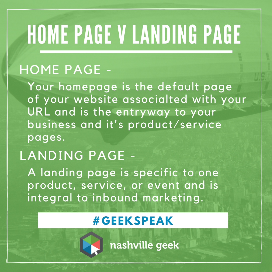 Home Page v Landing Page