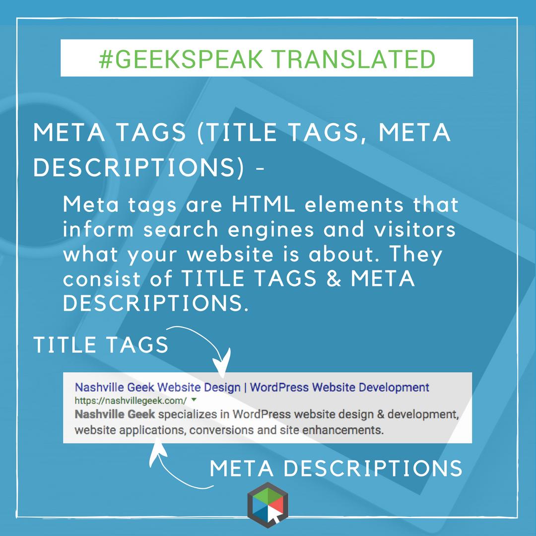 META Tags and META Descriptions