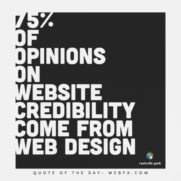 Graphic stating, 75 percent of opinions on website credibility come from web design